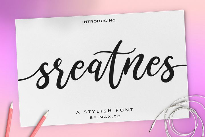 Sreatnes Script Font III Handwritten Style example image 1
