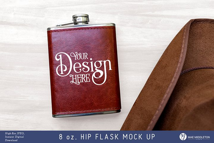 Hip Flask with leather cover -Mock up, styled photo