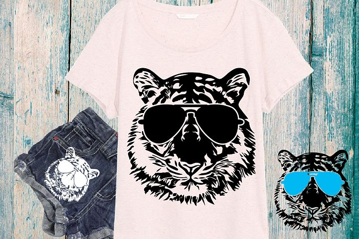 Wild Tiger Head Whit Glasses SVG Tigers 928s