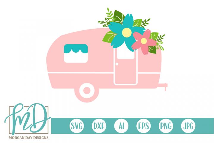Camping - Summer - Floral Camper SVG