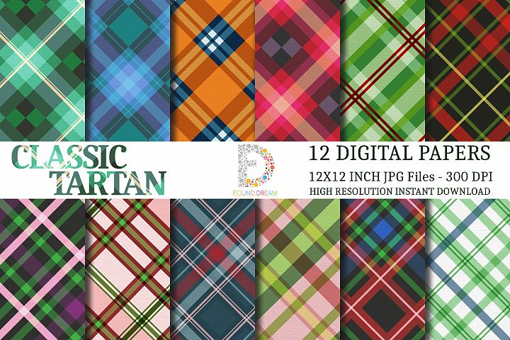 Tartan Digital Papers | 12 x 12 inch