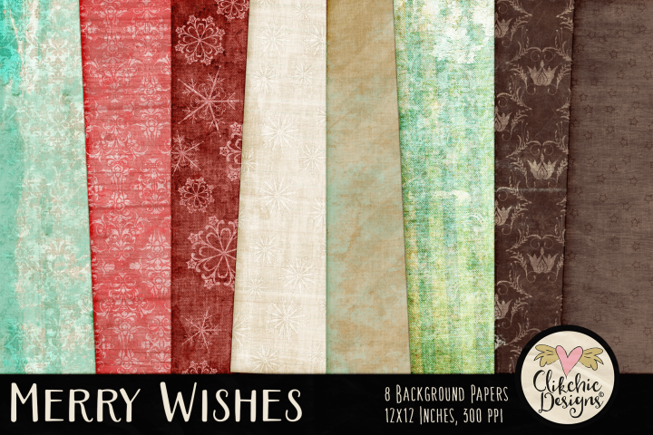 Christmas Backgrounds - Merry Wishes Digital Papers Textures