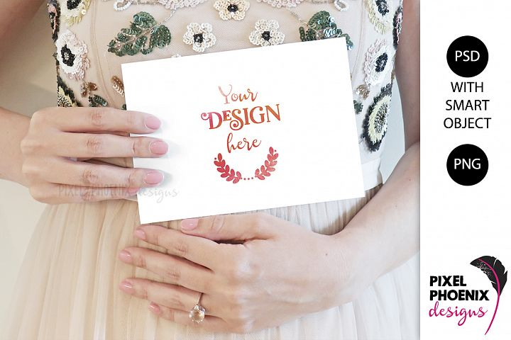 Mockup with hands Pregnancy Announcement