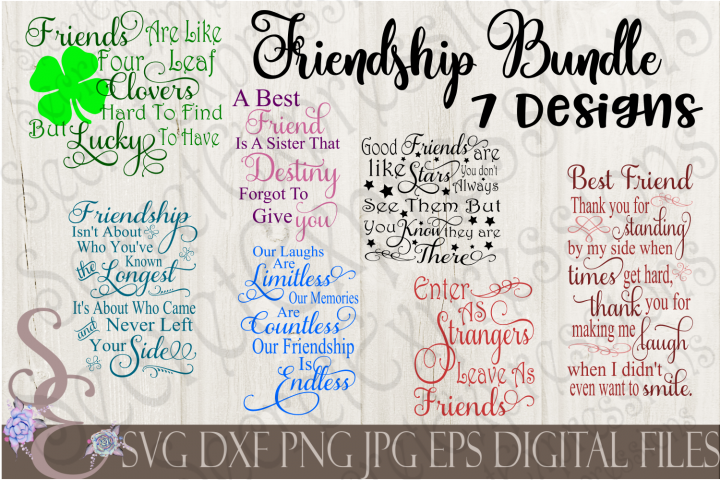 Friends and Friendship SVG Bundle 7 Designs