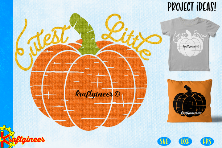Halloween SVG- Distress Cutest Little Pumpkin CUT FILE, DXF