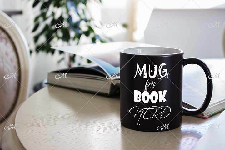 Black Mug Mock-up. PSD & JPEG