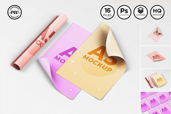 A4 - A5 Flyer, Paper Mockup V3