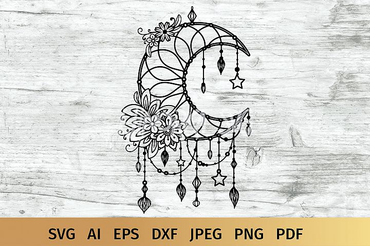 Floral Moon Dream Catcher svg