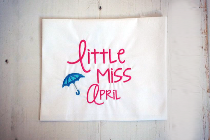 Little Miss April Umbrella Applique Embroidery Design