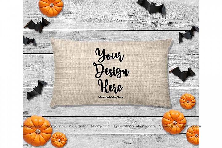 Halloween Beige Throw Pillow Mockup, Rectangle Fall Cushion