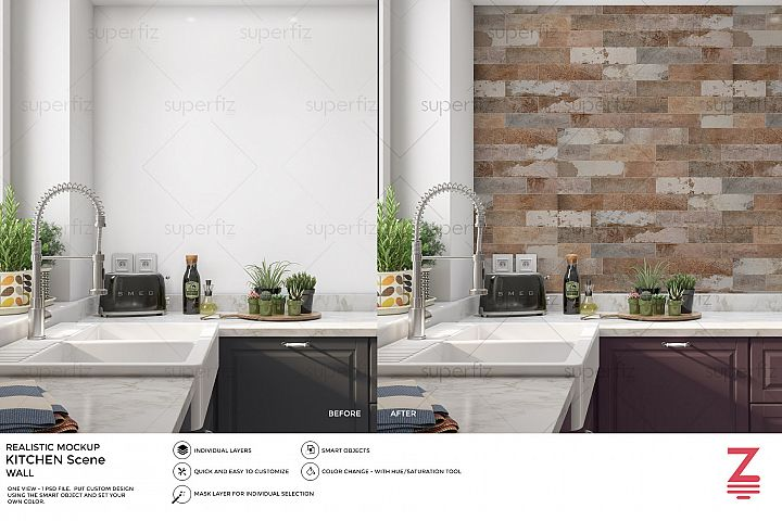Kitchen PSD Mockup to change the WALL surface SM12