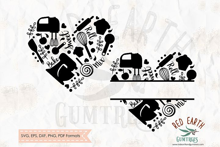 Baking heart split monogram in SVG,DXF,PNG,EPS,PDF formats