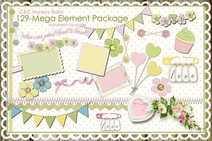 Nursery Baby Pastel Collections-129 Elements/Clipart Designer Scrapbook