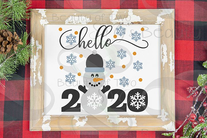 New Years Snowman Hello 2020 svg, Snowman svg hello 2020 svg