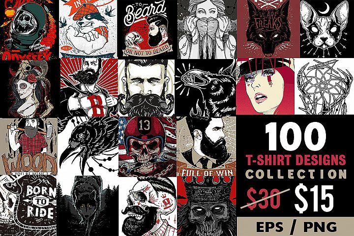 100 T-shirt Designs EPS PNG