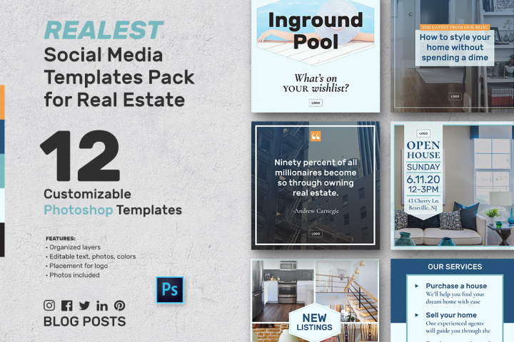 Real Estate Social Media Banner Templates Kit for Photoshop