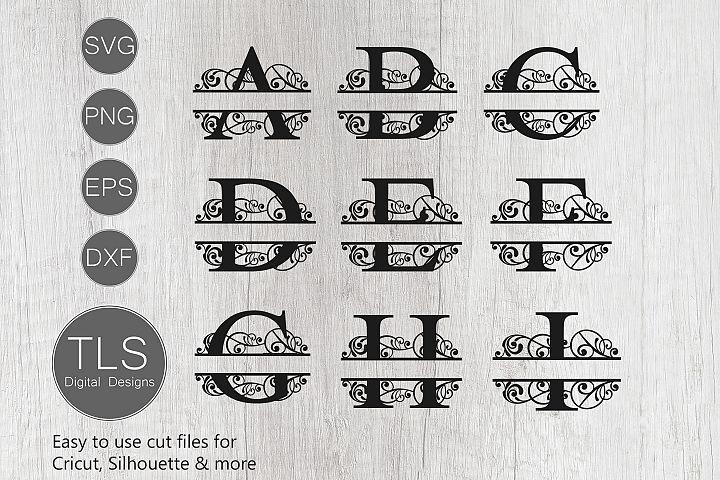 Split Monogram Letters A - Z SVG, Letters A - Z Monogram SVG