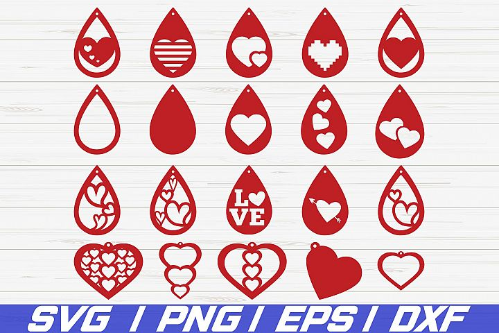 Valentine Earrings SVG/ laser cut template/ Cut Files