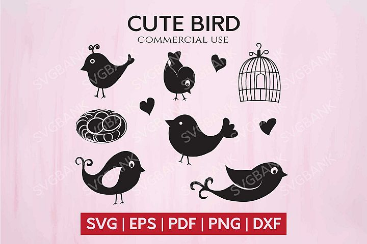 Cute and Funny Birds SVG cut file