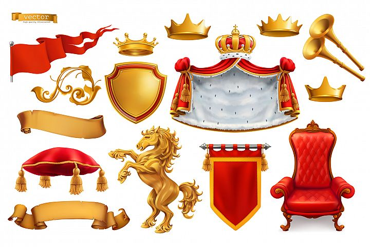 Heraldic set. Award. Royal crown, queen, king symbol, vector