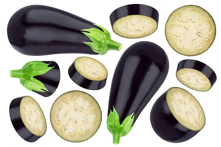 Eggplant collection isolated on white background