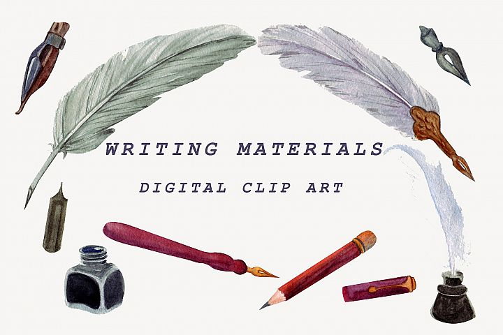 Writing materials. Watercolor clipart
