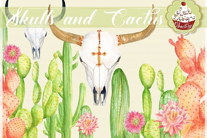 cactus and longhorns cliparts