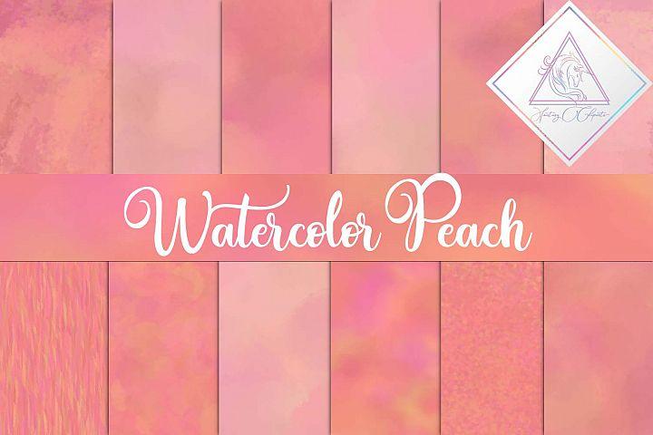 Watercolor Peach Digital Paper