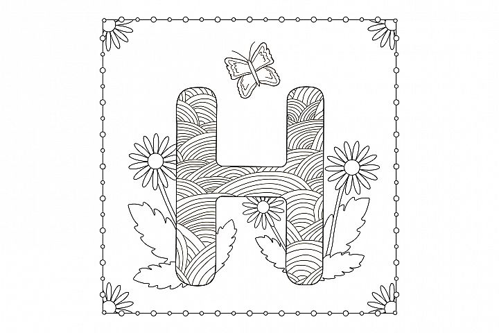 Letter H. Flowers. Coloring page.