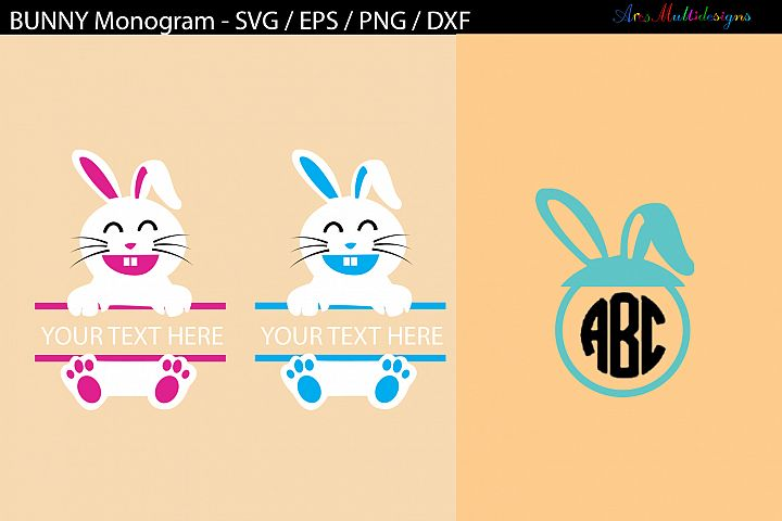 Easter bunny monogram SVG cut files / bunny monogram
