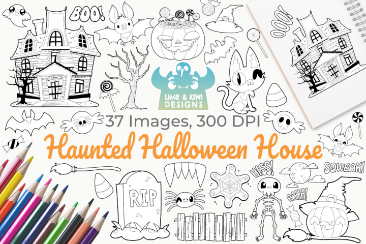 Haunted Halloween House Digital Stamps