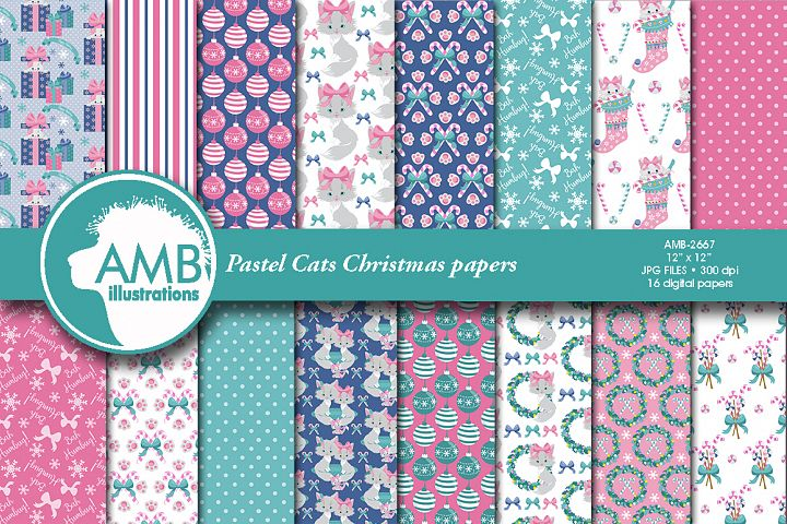 Cute kitten Christmas papers, Pastel Christmas patterns AMB-