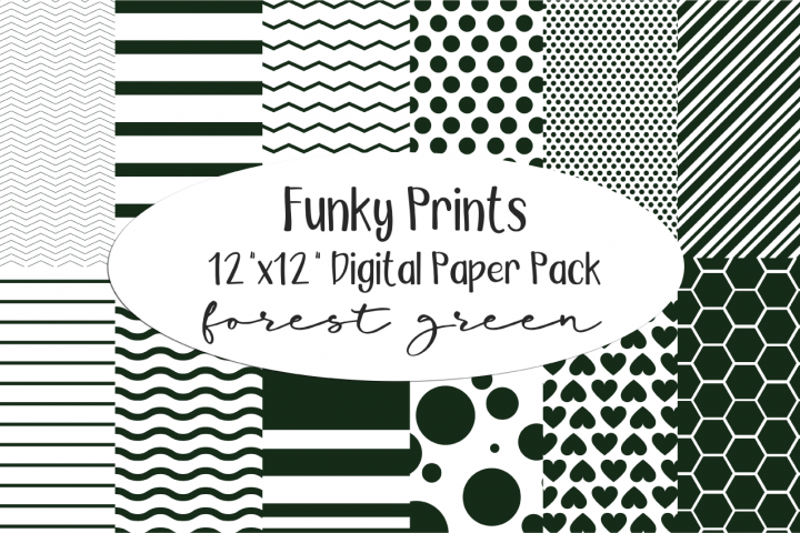 Funky Prints 12x 12 Forest Green Digital Paper Pack