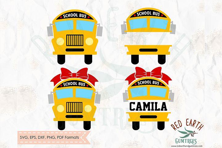 School bus monogram frame,school bus bow SVG,DXF,PNG,EPS,PDF