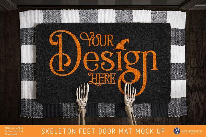 Halloween Black Door Mat mock up - Skeleton Feet