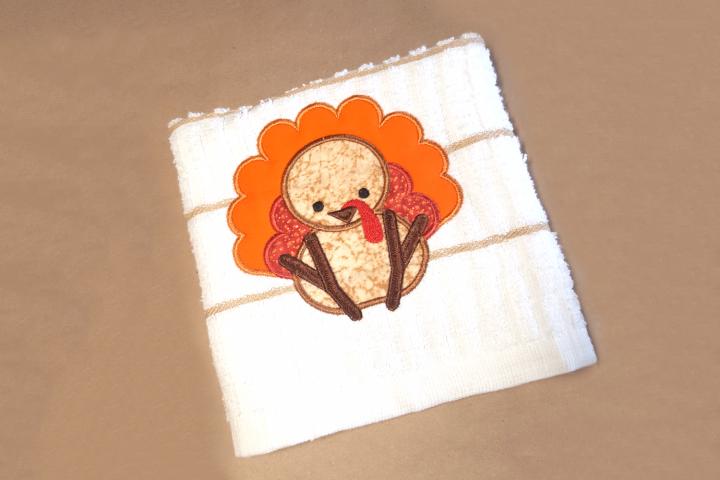 Cute Thanksgiving Turkey Applique Embroidery Design
