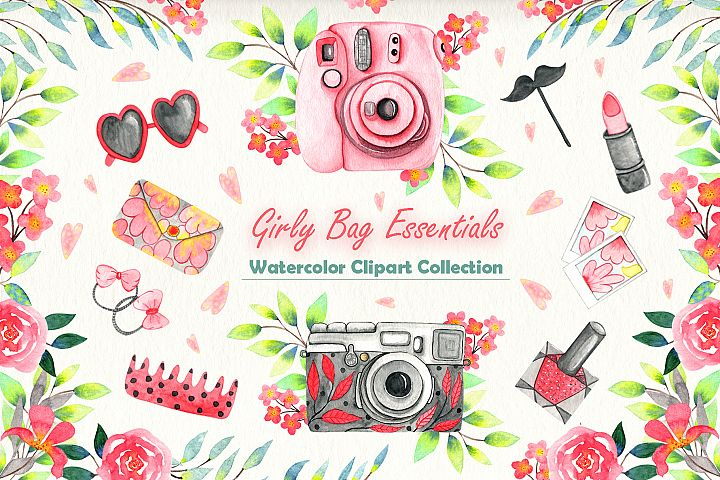 Girly Bag Essentials Watercolor Collection