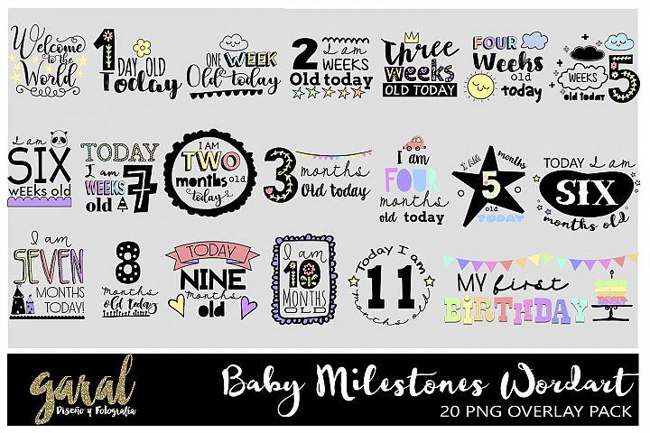 Baby Milestones WordArt Clipart