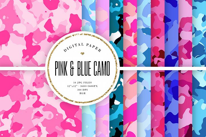 Pink & Blue Camo Digital Paper - Camouflage Backgrounds