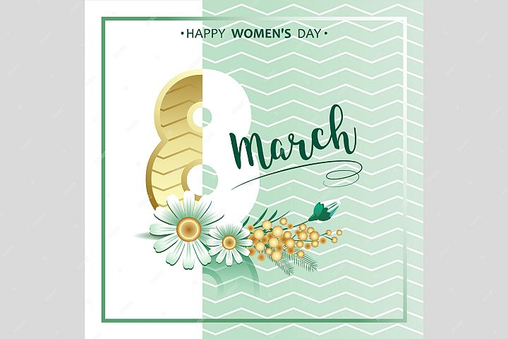 8 march greeting card. Hand lettering script with mimosa.