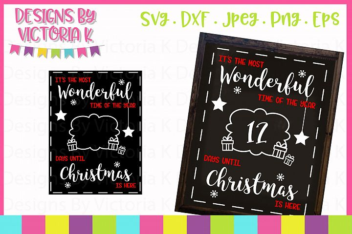 Christmas Countdown Chalkboard Design, SVG, DXF, PNG