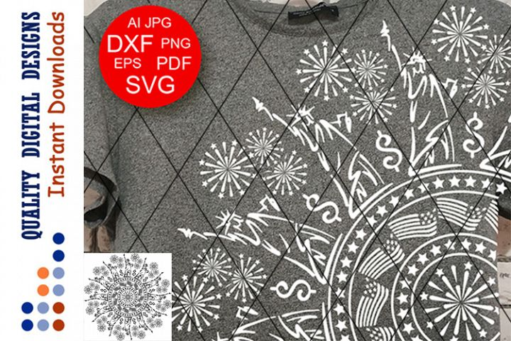 Mandala USA Patriotoc clipart SVG files for Cricut