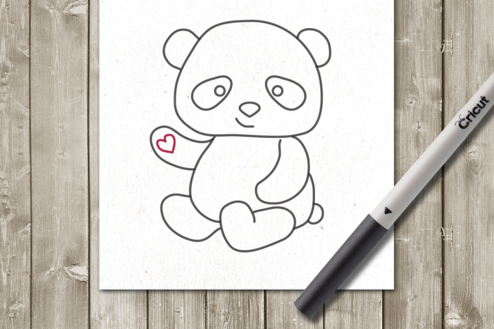 Panda SKETCH Single Line Drawing SVG File