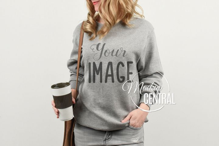 Coffee Woman in Gray Sweatshirt Mockup, Shirt Mock Up JPG
