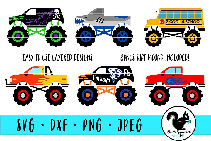 Monster Truck SVG, Truck Jam Clipart, Lifted Truck Bundle