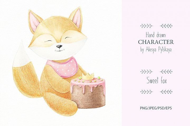 Fox with cake - hand drawn illustration