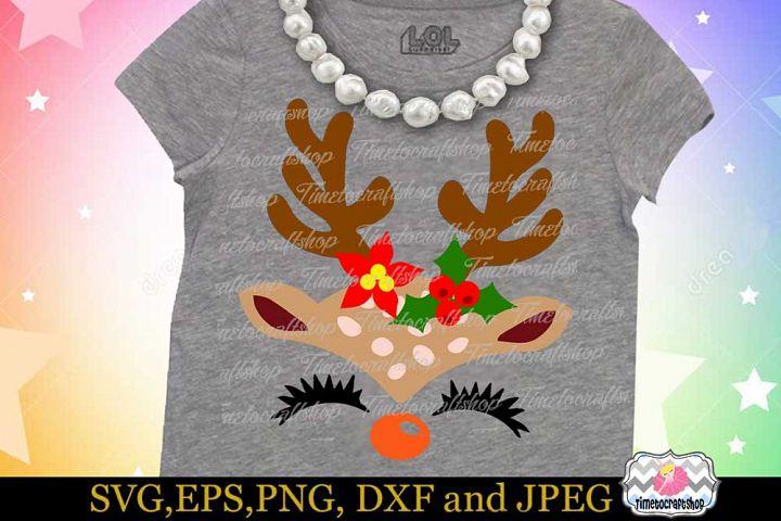 SVG, Dxf, Eps & Png Christmas Reindeer Girl Face