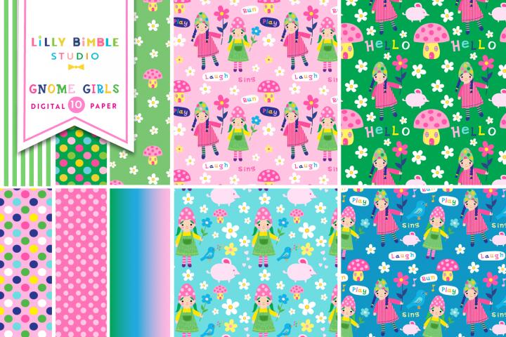 Gnome Girls Digital Paper