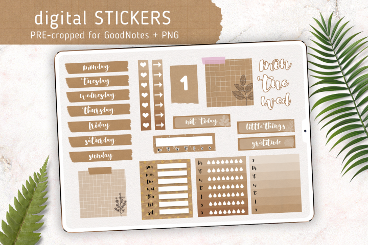Digital Weekly Sticker Kit | Basic Kraft Style