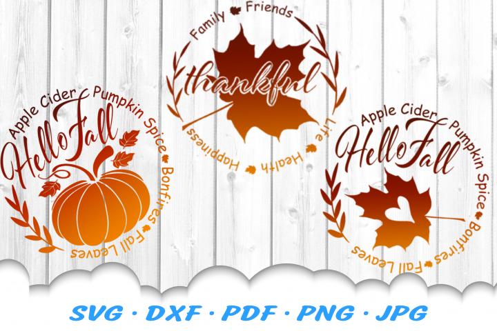 Fall Pumpkin Leaf Signs SVG DXF Cut Files Bundle